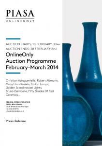 AUCTION STARTS: 18 FEBRUARY -10am AUCTION ENDS: 28 FEBRUARY-6pm OnlineOnly Auction Programme February-March 2014