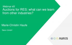 Auctions for RES: what can we learn from other industries?