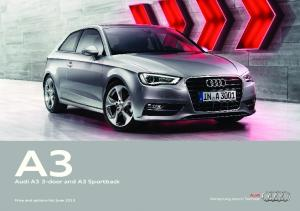 Audi A3 3-door and A3 Sportback. Price and options list June 2013