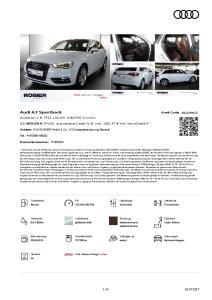 Audi A3 Sportback Audi Code ,00 Anbieter: Tel.: Kommissionsnr. Benzin 132 kw (180 PS) Automatik Frontantrieb