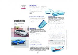 Audi A4 Cabriolet Audi S4 Cabriolet Quick reference guide