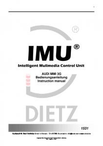 AUDI MMI 3G Bedienungsanleitung Instruction manual