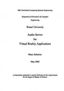 Audio Server for Virtual Reality Applications