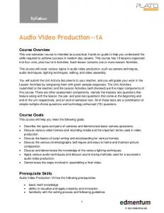 Audio Video Production 1A