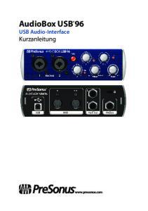 AudioBox USB 96. Kurzanleitung. USB Audio-Interface