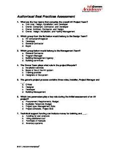 Audiovisual Best Practices Assessment