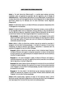 AUDIT COMMITTEE INTERNAL REGULATION