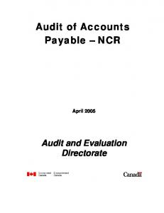 Audit of Accounts Payable NCR