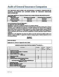 Audit of General Insurance Companies