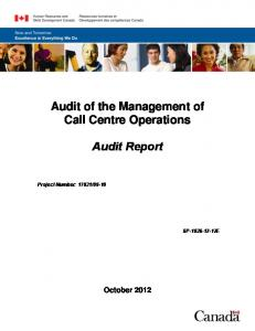 Audit of the Management of Call Centre Operations. Audit Report