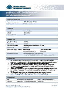 Audit report VET Quality Framework Initial registration as a national VET regulator (NVR) registered training organisation