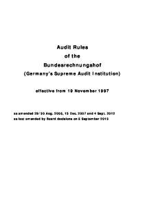 Audit Rules of the Bundesrechnungshof (Germany's Supreme Audit Institution)