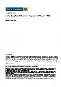 Audited Group Financial Results for the year ended 31 December 2013