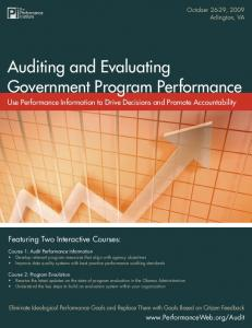 Auditing and Evaluating Government Program Performance