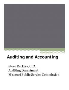 Auditing Department Missouri Public Service Commission