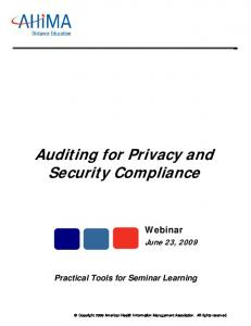 Auditing for Privacy and Security Compliance