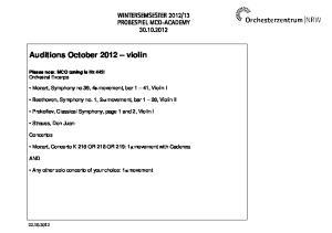 Auditions October 2012 violin
