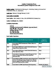 Auditor Credentials Form International Cyanide Management Code Audit