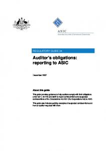 Auditor s obligations: reporting to ASIC