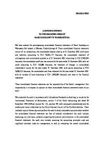 AUDITOR S OPINION TO THE SHAREHOLDERS OF BANK HANDLOWY W WARSZAWIE SA