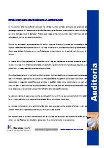 Auditoria IMPORTANCIA DE LAS DECLARACIONES DE LA ADMINISTRACION