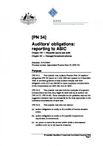 Auditors obligations: reporting to ASIC Chapter 2M Financial reports and audit Chapter 5C Managed investment schemes