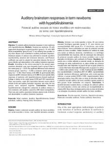 Auditory brainstem responses in term newborns with hyperbilirubinemia