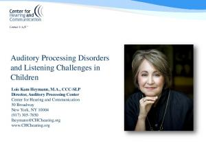 Auditory Processing Disorders and Listening Challenges in Children
