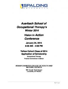Auerbach School of Occupational Therapy s. Conference