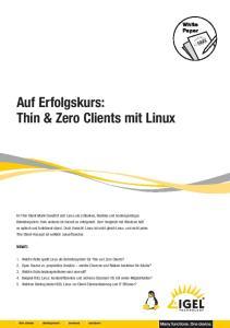 Auf Erfolgskurs: Thin & Zero Clients mit Linux