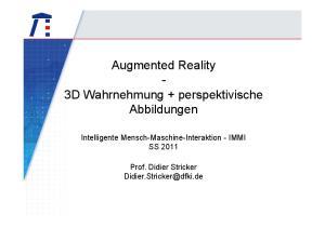 Augmented Reality - 3D Wahrnehmung + perspektivische Abbildungen