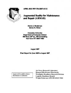 Augmented Reality for Maintenance and Repair (ARMAR)