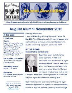 August Alumni Newsletter 2015