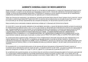 AUMENTO GENERALIZADO DE MEDICAMENTOS
