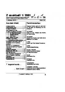 Aus dem Inhalt. Terminvorschau. Tiergartenfreunde Echt Stark! 11.Jahrgang, Heft Nr. 1 Ostern 2001