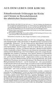 AUS DEM LEBEN DER KIRCHE. Zukunftsweisende Erfahrungen der Kirche und Christen im Herrschaftsbereich des atheistischen Staatssozialismus