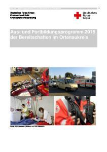Aus- und Fortbildungsprogramm 2016 der Bereitschaften im Ortenaukreis