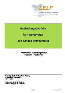 Ausbildungsbetriebe. im Agrarbereich. des Landes Brandenburg
