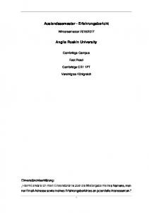 Auslandssemester - Erfahrungsbericht. Anglia Ruskin University