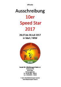 Ausschreibung 10er Speed Star 2017