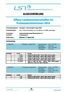 AUSSCHREIBUNG. Offene Landesmeisterschaften im Freiwasserschwimmen 2016