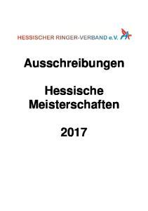 Ausschreibungen. Hessische Meisterschaften