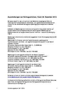 Ausschreibungen von Vertragsarztsitzen, Stand 28. November 2016