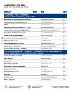 AUSSTELLERLISTE 2016 LIST OF EXHIBITORS 2016