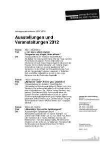 Ausstellungen und Veranstaltungen 2012