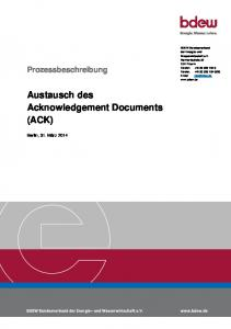 Austausch des Acknowledgement Documents (ACK)