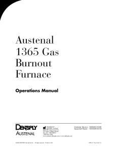 Austenal 1365 Gas Burnout Furnace