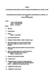 Australia. HAZARDOUS WASTE (REGULATION OF EXPORTS AND IMPORTS) ACT 1989 No. 6, 1990