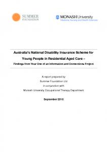 Australia s National Disability Insurance Scheme for Young People in Residential Aged Care