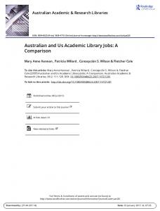 Australian and Us Academic Library Jobs: A Comparison